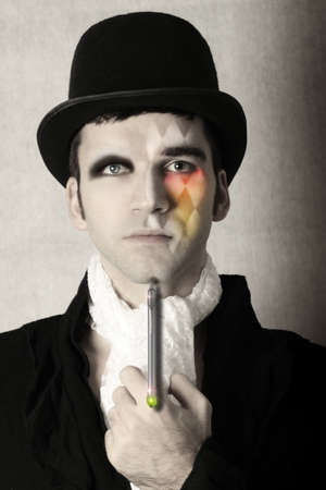 top: Fantastical stylized portrait of man in top hat and period clothing with surreal makeup