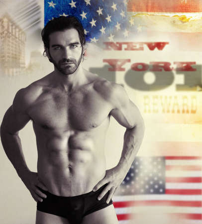 Stylized vintage retro concept photo of a muscular male model in underwear against abstract background photo