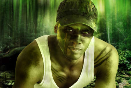 military training: Stylized fantasy portrait of a cool army hero guy with face paint and camo hat in dark mysterious jungle war setting
