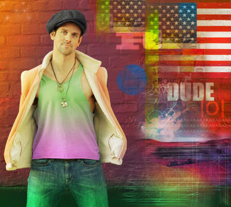 Cool stylized portrait of a hip young male model in hat and vest and retro clothing posing against red brick wall with abstract background theme photo