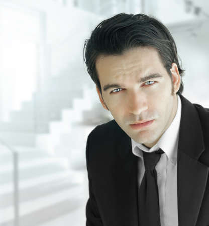 good: Portrait of a handsome businessman in elegant suit and tie against modern office background Stock Photo
