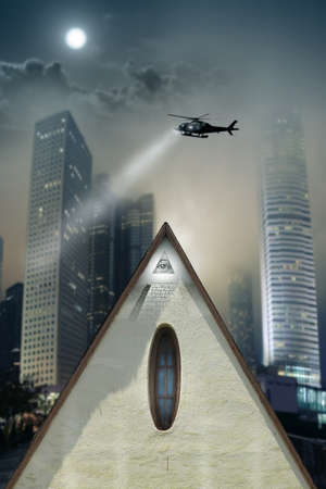 new world order: Concept photo of a pyramid shaped buiilding with eye of providence in the midst of a gothic urban city with helicopter searching above