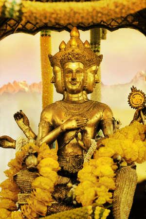Golden ancient statue of Shiva god photo