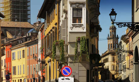 distric: Street in historic distric of European town (Parma, Italy) Stock Photo