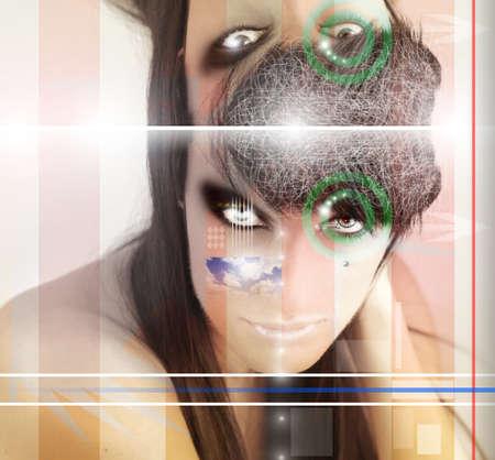 alien women: Conceptual stylized portrait of a woman with surreal design elements Stock Photo