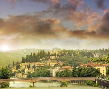 verona: Romantic feeling landscape of Verona Italy