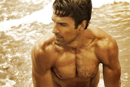nudo maschile: Oro ritratto tonica arte di un bellissimo giovane uomo musuclar nell'oceano Archivio Fotografico