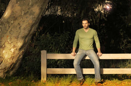 decision tree: Young handsome man sitting on a rustic fence