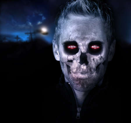 grotesque: Scary portrait of a zombie in graveyard setting Stock Photo