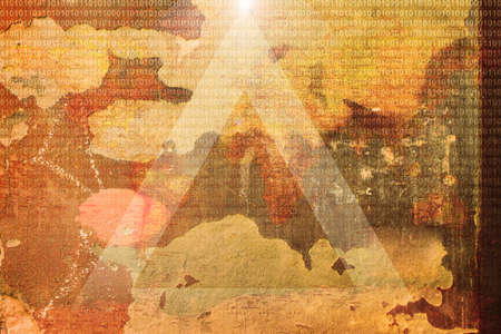 Conceptual abstract grunge aged background featuring a luminous triangle and binary code detail photo