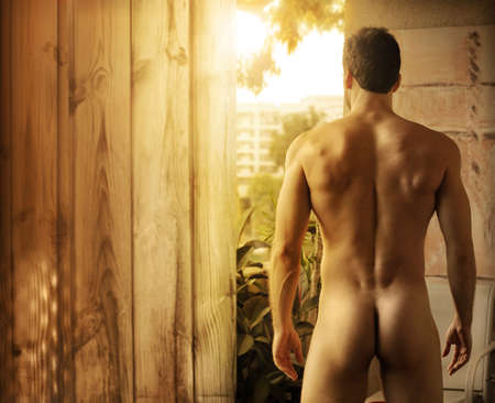erotic male: a nude beautiful muscular man standing outdoors looking off