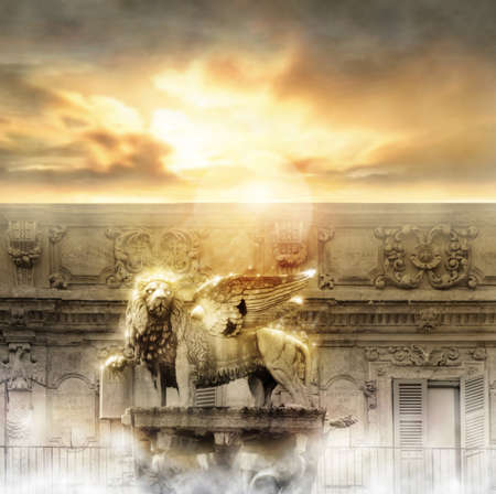 kingdoms: Fantastical glowing golden lion statue with wings in majestic heavenly setting Stock Photo