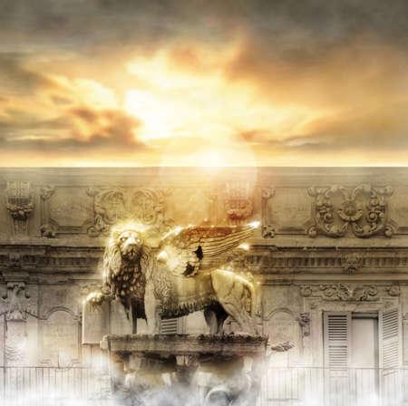 ali angelo: Fantastico statua incandescente leone d'oro con le ali in maestoso ambiente paradisiaco