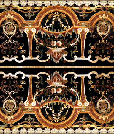 inlay: Detail of intricate ornamental marble inlay in Europen cathedral