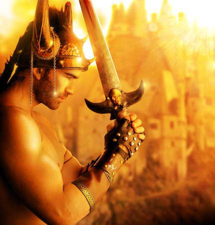 Portrait of a beautiful young warrior holding sword in golden light photo
