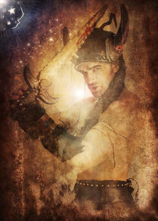Magical fantasy portrait of a heroic warrior weilding sword fighting back the night with cool grunge aging overlay effects photo