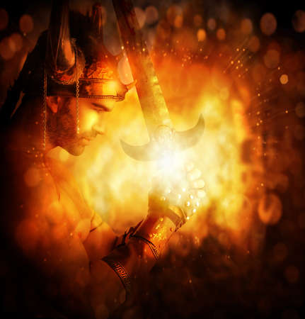 Stylized concept portrait of a warrior holding glowing sword with abstract golden fire background