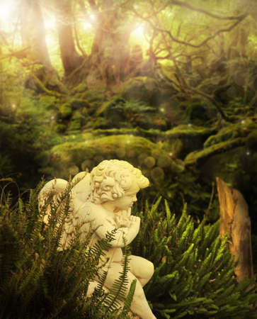 Classical cherub angel in mystical garden setting with rays of light streaming above