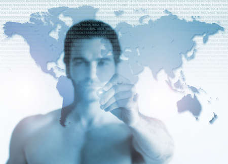 men ideas: Business concept of a shirtless young man pointing to world map on transparent screen