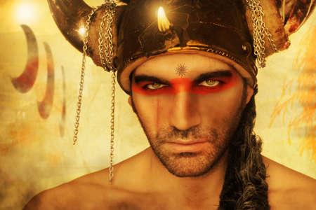 Fantastical portrait of a ancient warrior with vintage antique background Banque d'images