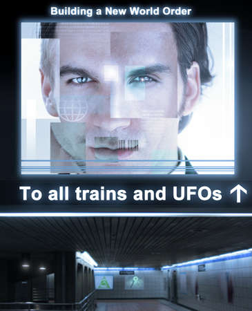 Fantastical concept depticting an ominous train station with glowing poster reading &quot,Building a New World Order&quot, above