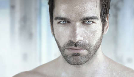 Highly detailed portrait of good looking man with wet face