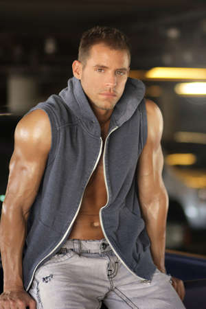 Portrait of fashion young caucasian sexy  handsome athletic man  Standard-Bild