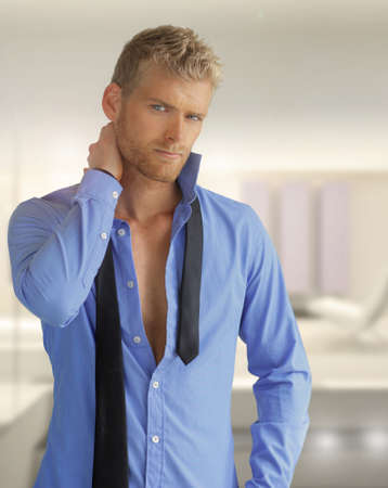 open shirt: Portrait of a very handsome male model