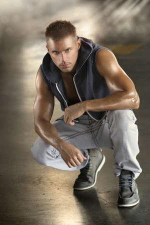 Full body portrait of a tough sexy male model Standard-Bild