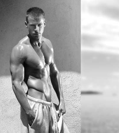 nude sport: Portrait of sexy muscular macho man