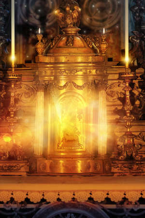 tabernacle: Magical glowing golden altar tabernacle with light candles and rays of light Stock Photo