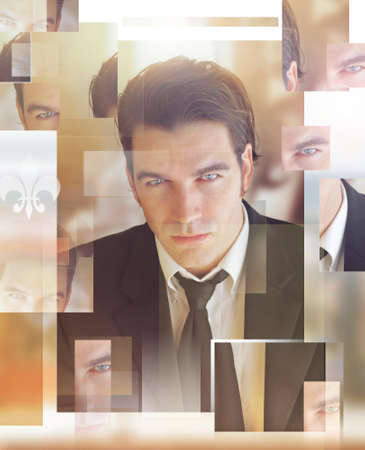 Abstract conceptual portrait of a good looking businessman Banque d'images