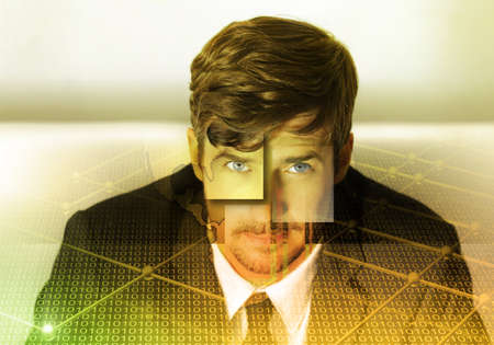 Abstract business portrait of a young man in suit with golden grid overlay