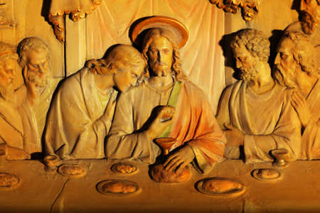 An old marble carving detail of the Last Supper Stock Photo