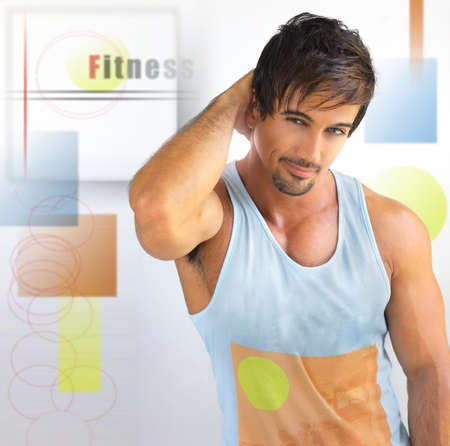 Concept image of muscular man with abstract colorful elements depicting a healthy lifestyle photo