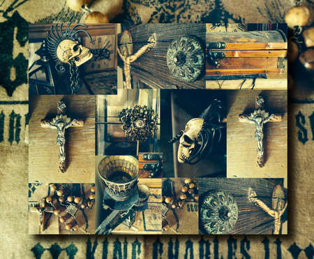 Creative abstract conceptual collage of several antique elements including a crucifix and skull with overall vintage toning Foto de archivo