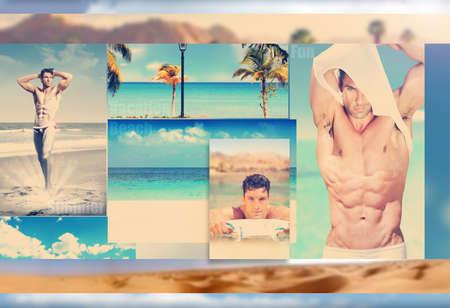 Composite conceptuel représentant sexy été featureing palmiers et des hommes au glamour vacances station balnéaire