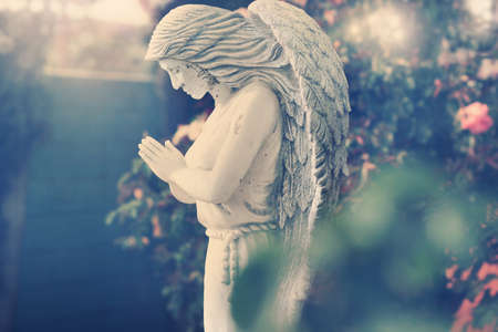 Statue of angel in garden with subtle vintage styling