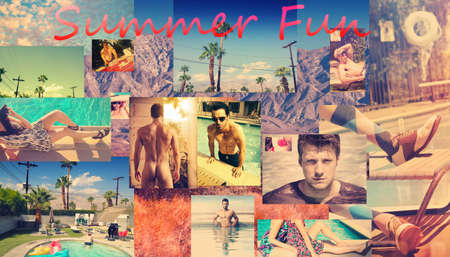 Creative collage illustrating the ideal summer with the text Summer Fun in vibrant pink over a collection of vintage photos photo