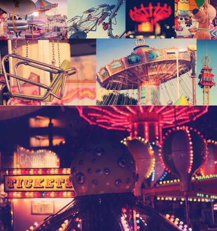 LOS ANGELES, CA, États-Unis - 3 février 2014 collage créatif illustrant un jour et nuit au plaisir parc amustment classique avec tonification globale millésime classique Éditoriale