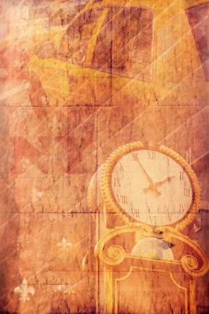 """Concept représentant une """"minute de New York"""", avec des jaune taxi et l'horloge avec effet filtrée globale et tonifiant millésime Banque d'images"""