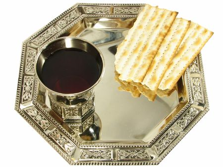 judaism: Kiddush wine and matza on silver tray isolated over white