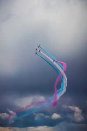 British Royal Air Force   Red Arrows    Airshow in Tallinn Stock Photo