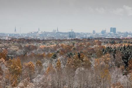 estonia: Autumn and first snow in Tallinn, Estonia