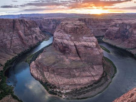Horseshoe Bend at Sunset, Arizona, USA 免版税图像