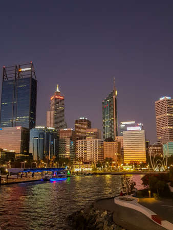 View of the Skyline of Perth and elizabeth quay at twilight, Perth, Western Australia, Australia