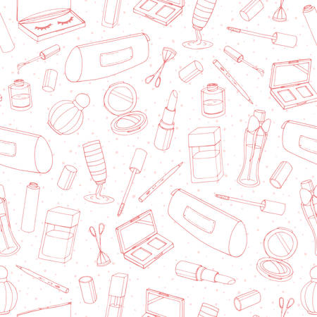 Vector cosmetics repeat pattern with bottles, lacquer, lipstick, eye shadows, mascara and powder outline on the white background. Hand drawn makeup products line art.