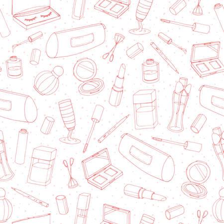 Vector cosmetici ripetere il modello con bottiglie, lacca, rossetto, ombretti, mascara e contorno in polvere su fondo bianco. Linea arte di prodotti di trucco disegnati a mano. Vettoriali
