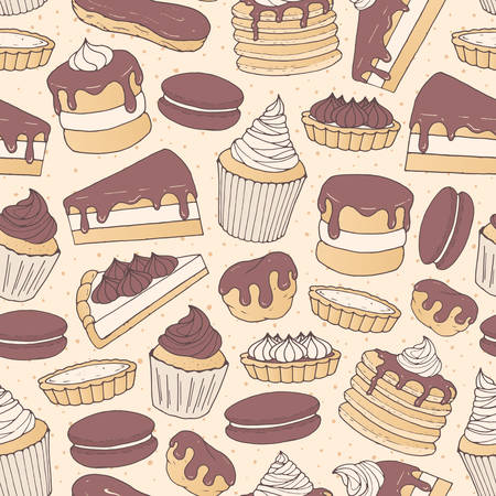Vector chocolate pastry repeat pattern with cakes, pies, muffins, pancakes, macarons and eclairs on the dotted background. Hand drawn sweet bakery products in sketchy style.