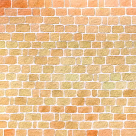 Hand drawn watercolor wall made of brown and orange bricks background